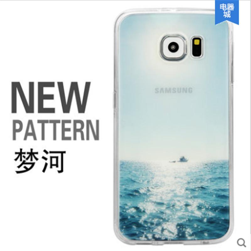 三星galaxy s6手機殼三星s6手機套 防摔超薄山水彩繪s6edge意境殼