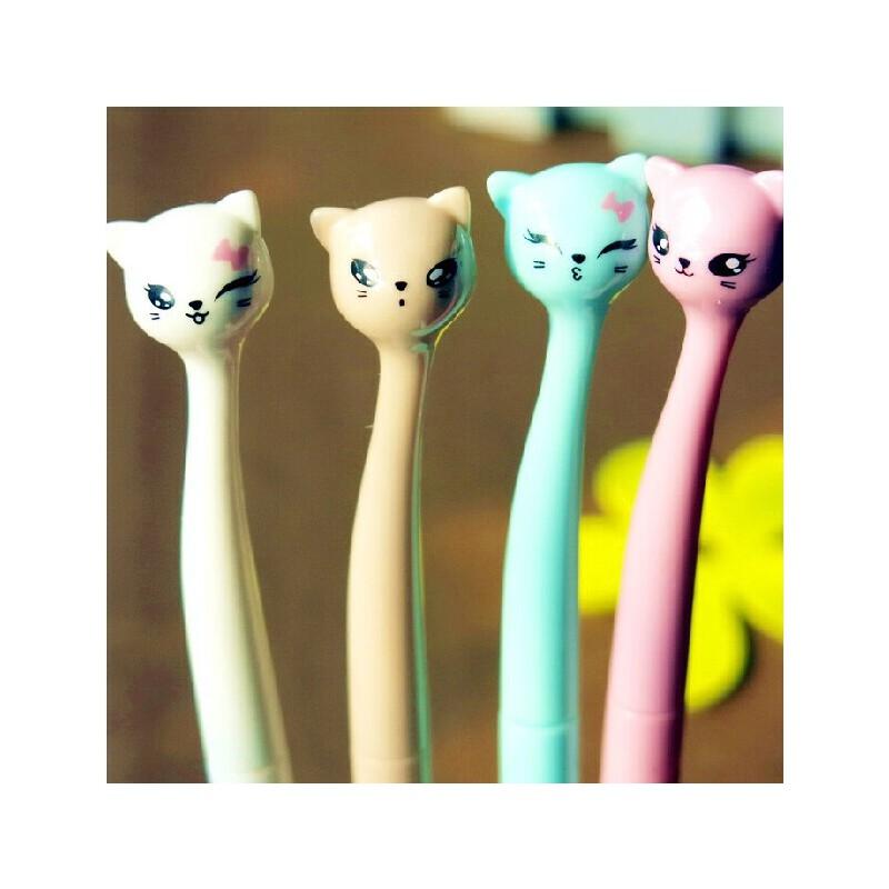 韩国文具可爱清新萌猫 可站立小猫中性笔 水笔奖品礼物晨美
