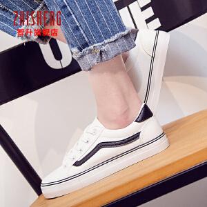 2017春季新款小白休闲鞋韩版皮面帆布鞋平底休闲鞋女板鞋学生鞋单鞋