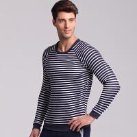 时尚男士保暖内衣上衣单件 加厚加绒圆领条纹棉毛衫外穿潮 男 圆领保暖上衣
