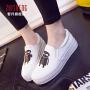 2017春季女帆布鞋卡通休闲板鞋韩版一脚蹬懒人鞋厚底学生女布鞋