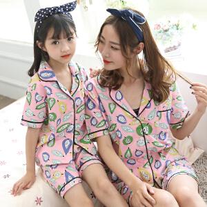 阿拉兜夏季新款女童薄款纯棉短袖儿童睡衣宝宝套装夏装小女孩家居服亲子装