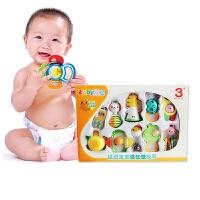 澳贝新生婴儿早教玩具手抓安抚摇铃牙胶10只装套装礼盒 3-12个月宝宝礼物