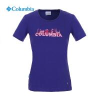 【领卷满400减100】Columbia哥伦比亚户外女款速干防晒圆领短袖T恤PL2462