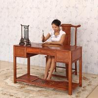 包邮简迪红木家具新中式红木书桌实木办公桌子书房家用花梨木写字台现代简约电脑桌电脑椅