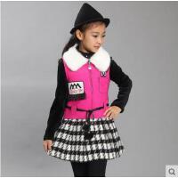 新款秋冬装加绒大儿童公主裙韩版童装裙子女童长袖连衣裙加厚两件套