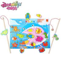 丹妮奇特 儿童小猫钓鱼玩具木制磁性1-2-3周岁宝宝益智小孩儿互动