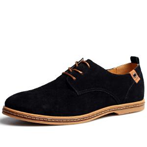 格罗堡春季新款系带休闲鞋男士商务休闲鞋英伦反绒户外休闲鞋板鞋大码鞋男鞋8301