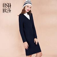限时抢欧莎冬季新款女装 百搭气质显瘦毛织长袖连衣裙冬D13015