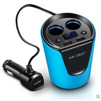 车载充电器 杯架式车载充电器双USB手机一拖二点烟器插头汽车多功能车充先科