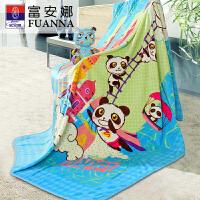 富安娜家纺毛毯儿童毯子法兰绒毯毛巾被午睡毯熊猫系列快乐冒险家