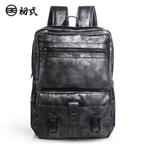 初�q中国风潮牌复古男女学生书包pu防水狮子头电脑双肩背包41084