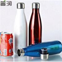 500ML可乐瓶304不锈钢保温杯 双层子弹头水杯真空直身杯保冷杯 PRB04 黄色