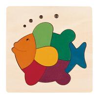 德国HapeE6502创意拼图-彩虹鱼儿童早教木质拼图玩具