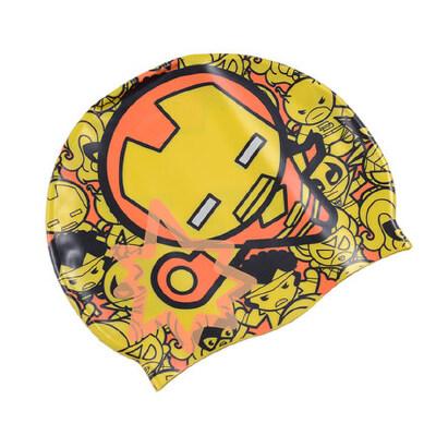 儿童硅胶泳帽美国队长卡通版小孩蜘蛛侠泳帽防水护耳可爱米妮_黄红