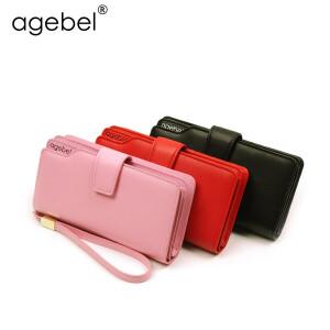 艾吉贝2017新款女长款钱包牛皮票夹拉链多卡位大容量放6p韩版手包