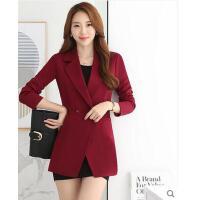 女外套 修身大码西服 时尚韩版修身小西装女外套长袖中长款潮西服大衣西装