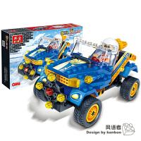 邦宝积木回力车儿童益智拼装积木玩具车跑车组装汽车F1赛车模型车