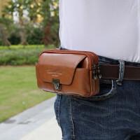 男士腰包牛皮手机包5寸/5.5寸/5.7寸穿皮带潮男真皮腰包手机套包