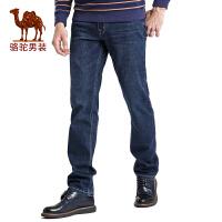骆驼男装 秋季男士中腰合体直筒商务休闲牛仔裤长裤子男