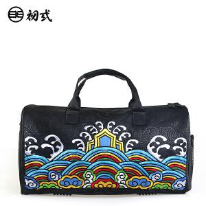 初�q中国风潮牌复古男女PU刺绣印花单肩手提斜挎旅行背包袋42002