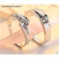 戒指 首饰 配饰 仿真钻戒婚礼情侣戒指一对925银男女结婚对戒刻字指环求婚戒