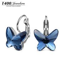 T400蝴蝶飞耳扣式耳环采用施华洛世奇元素水晶 韩风耳饰耳环2377