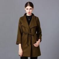 �莱2016秋冬韩版修身加厚长袖毛呢外套纯色显瘦中长款大码呢子大衣女