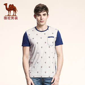 骆驼男装 夏季新款时尚撞色印花圆领纯棉短袖T恤衫潮 男上衣