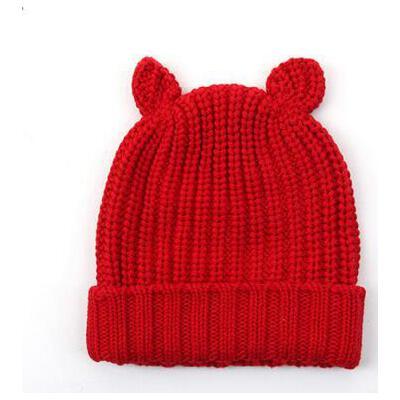 帽子 女宝宝针织帽 婴儿包 套头帽 婴儿帽子0-3-6-12个月耳朵款女宝宝