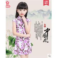 新款女童唐装修身中大童民族风公主裙 儿童旗袍连衣裙中式