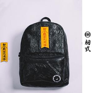 初�q中国风潮牌男女复古pu旅行防水双肩包压纹印花潮书背包41067