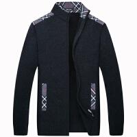 伯思凯2016秋季上新男士中年毛衣立领拼接针织衫外套