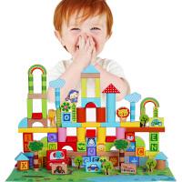 fisher price费雪牌木制积木玩具 2-3-6周岁儿童益智 男女孩宝宝数字字母动物认知启蒙玩具积木桶装100大颗粒FP6007