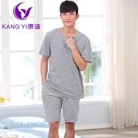 香港康谊 2015夏天新款短袖纯棉睡衣男士短裤夏季睡衣套装家居服