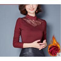 秋冬新款修身小衫高领大码显瘦上衣加绒加厚蕾丝打底衫女长袖