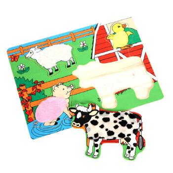 大贸商 植绒拼图 儿童益智玩具 积木 进口 动物 ex00317