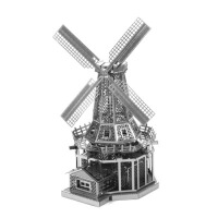 爱拼 全金属diy建筑拼装模型3D纳米立体拼图 荷兰风车 不锈钢版 黄铜版 金色 银色