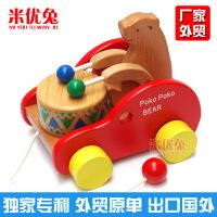 厂家外贸原单 小熊敲鼓 木制早教创意益智儿童玩具批发精品