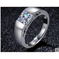 高贵大气精致男士925银镀18k白金戒指百搭厚实耐磨个性方形仿真钻戒