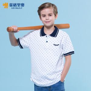 2017童装夏装波点印花POLO衫男童纯棉翻领短袖体恤上衣儿童T恤