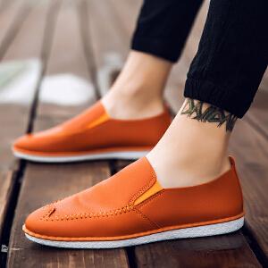 罗兰船长  新款夏季单层小皮鞋豆豆鞋
