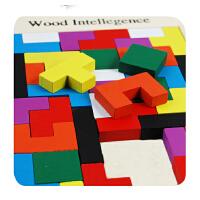 启蒙儿童益智力早教木制玩具 宝宝拼图拼板积木质俄罗斯方