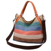 女包单肩斜挎包女士手提包拼接色帆布包撞色包条纹时尚复古大容量休闲包
