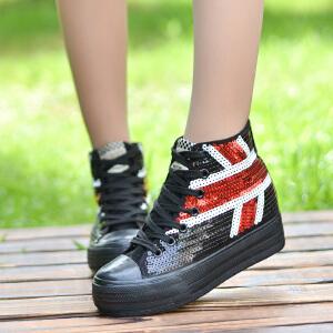 【开学】2017春款韩版高帮亮片加棉帆布鞋学生时尚休闲鞋厚底系带女鞋板鞋