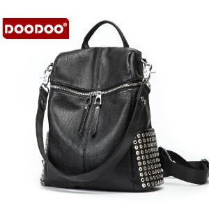 DOODOO双肩包女包2017新款韩版休闲软皮包百搭简约旅行包女士背包 D6127