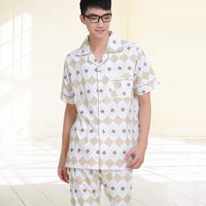 金丰田夏季男士短袖格子睡衣套装1198