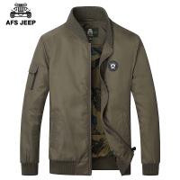 AFS JEEP春春新款男士外套青年薄款商务休闲夹克纯色大码上衣男潮