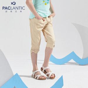 派克兰帝童装 2017夏季女童蝴蝶结炫彩七分裤 女童夏季短裤