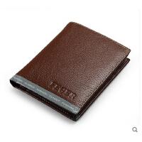韩版时尚男士  短款钱包  真皮  票夹两折钱夹     多功能  皮夹卡片包男